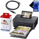 "Canon SELPHY CP910 Black Portable Wireless Compact Photo Color Printer + Canon KP-108IN Color Ink Paper Set (Produces up to 108 of 4 x 6"" prints), USB Printer Cable + HeroFiber® Ultra Gentle Cleaning Cloth - http://brianparish70.tumblr.com/121783513924"
