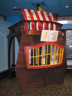 Pirate Ship reading nook at The Trove (White Plains Public Library children's rooms)