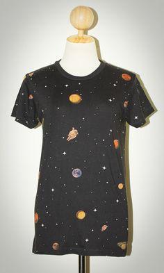 Star Cluster Universe Charcoal Black Rock Pop Unisex T-Shirt Size S