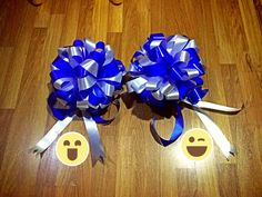 Mix blue white Ribbon bouquets 4 opening store :) love it