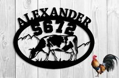 Grazing Cow - Farm - Personalized Address Sign Large House Numbers Steel Metal Sign Hand Made (23w x 20.5h). Grazing cow custom address sign / plaque for your home, farm or ranch . Customization of the top letters/words - family name, street name, business name - anything else you may want, or you can elect to keep the top blank. As you add more letters it is necessary to make them smaller. Choose the color of your sign in options or this sign will arrive unpainted. Unpainted signs are...
