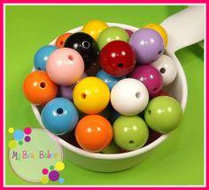 25 Pieces 20mm Rainbow Mix Acrylic Bubblegum Style by MyBeadBakery, $4.75