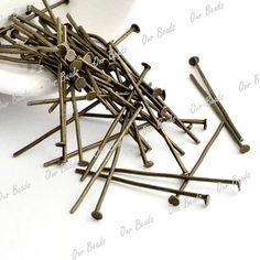 "1"" antique bronze head pins (20)"