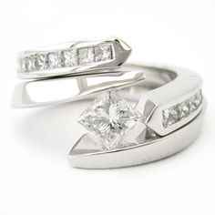 Princess Cut Tension Set Solitaire Diamond Engagement Ring & Matching Wedding Band TP66S