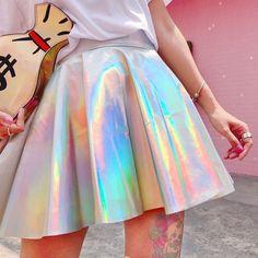 Cool Japanese Harajuku Vintage Gothic Punk Preppy Style Laser Slim Pleated Skirt