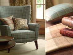 Woodford    The compilation of plaid, check and herringbone designs works in harmony with Morris IV prints and the rich natural colour palette. Available in 12 colourways.    Left Image:    Armchair: Woodford Check DMORWC303  Cushions: (Left)Woodford Plaid DMORWO302, (Right) : Honeysuckle DMORHO201    Right Image:    Throw: Woodford Plaid DMORWP302  Cushion: Woodford Check DMORWC303