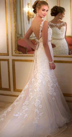 Elegance, Romance and Sexiness All in One--lace detail, scalloped illusion front with a low-cut back.| LOVE THIS!!!