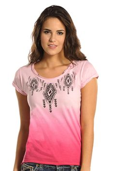 Rock & Roll Cowgirl Triple Aztec Design T-Shirt: Sierra Western Wear #Rock & Roll Cowgirl #Western Fashion #Fashion Western Wear #Cowgirl Fashion