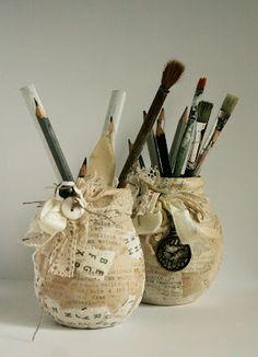 Altered jars by Olga Heldwein