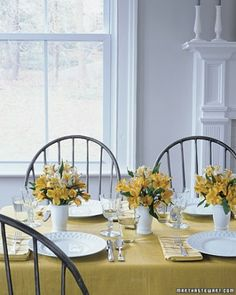 Vases from toothbrush containers… I don't think they're used. :-) I love the yellow color pattern. Great for a spring/summer party.