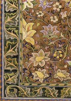 """""""Redcar"""" (1880) (detail) """"Hammersmith"""" (carpet). The Redcar was the best known of the carpets designed by William Morris for Morris & Co."""