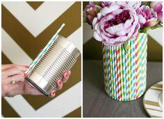 Vase décoré avec des pailles
