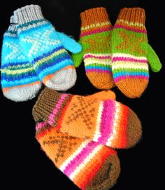 KIDS RAINBOW MITTENS - Fair Trade. Bright and colorful, these mittens are hand-knitted with soft and toasty-warm alpaca wool. Purchase at VALLEY NATURAL FOODS.