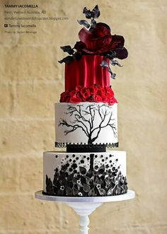 Wonderful Wide World of Cupcakes: Black, white, and red wedding cake...