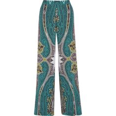 Etro Printed silk crepe de chine wide-leg pants featuring polyvore, fashion, clothing, pants, turquoise, high waisted trousers, blue wide leg pants, wide-leg pants, wide-leg trousers and high waist stretch pants