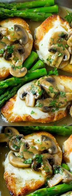 This Chicken Madeira recipe from Dinner at the Zoo is even better than the restaurant version. Chicken breasts are smothered in mozzarella cheese, the most delicious mushroom sauce, and served alongside asparagus!
