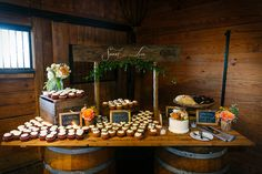 dessert display at a rustic venue   Photo by Stephen Bobb Photography