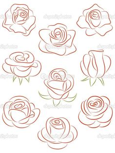 Set of roses. Set of roses. Royalty free set of roses vector illustration stock vector art and more images of abstract - Art Floral, Art Sketches, Art Drawings, Rose Drawings, Images Of Drawings, Images Photos, Tattoo Drawings, Free Vector Art, Vector Graphics