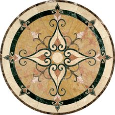 When choosing a stone medallion, the Cassina style from Oshkosh Designs offers a striking design and detailed craftsmanship. 3d Wall Panels, Wood Panel Walls, Wood Wall, Stone Backsplash, Stone Tiles, Floor Design, Wall Design, Marble Polishing, Green Marble