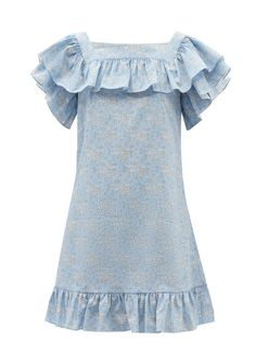 Blue The Cry Baby floral-print linen-blend mini dress | The Vampire's Wife | MATCHESFASHION UK Susie Cave, The Vampires Wife, Dresser, Stella Mccartney Falabella, Printed Linen, Cry Baby, Day Dresses, Snug Fit, Floral Prints