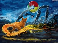 One of the coolest pictures I've ever seen. I use neither, (yes, I use Internet Explorer. Deal with it), but this is just epic.