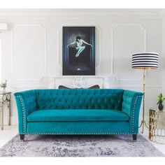 Nightingale-Teal-Blue-Velvet-Sofa-by-The-French-Bedroom-Company Teal color: colors that go well with teal in interior design Turquoise Sofa, Teal Sofa, Turquoise Furniture, Bedroom Seating, Bedroom Sofa, Bedroom Wall, Bedroom Furniture, Master Bedroom, Sofa Couch