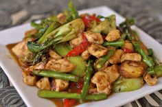 Stir frying chicken   Preparation time: 10 minutes  Cook time: 20 minutes  Ready in: 30 minutes    Ingredients:  · a chicken breast  · onions  · bell peppers  · pineapple chunks  · broccoli florets  · sesame oil  · soy sauce