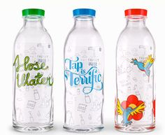 Stop spending money on bottled water, and in the process, destroying the environment with plastic!  Instead, buy a few of these adorable, reusable Glass Water Bottles from Faucet Face.