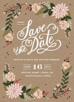 save the date - floral wreath design