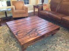 This is such a great idea for an inexpensive coffee table. Use pallet wood, sand it, stain it, monogram it and seal it…Beautiful. Did I mention pallet wood is free?.