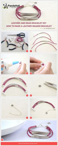 Leather and Bead Bracelet DIY - How To Make A Leather Beaded Bracelet from pandahall.com