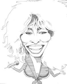 Tina Turner karakter cartoon afdrukken van cartoonseller op Etsy