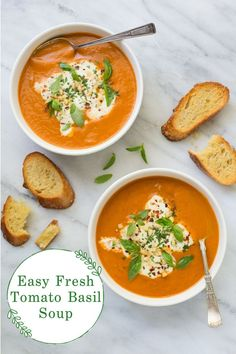 There's nothing quite like this Fresh Tomato Basil Soup made from fresh tomatoes. Try it! You won't believe how delicious it is! #tomatobasilsoup #freshtomatosoup #besttomatosoup Healthy Soup Recipes, Beef Recipes, Vegetarian Recipes, Healthy Food, Healthy Eating, Basil Soup Recipe, Fresh Tomato Soup, Simple Tomato Soup, Kitchens