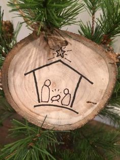This is a hand made ornament of the Nativity. You will receive this actual ornament. The pictures show the front and the back of the ornament. Please note that this is meant to be rustic and the imperfections of the wood are part of its charm. The ornament measures approximately 3 in diameter.