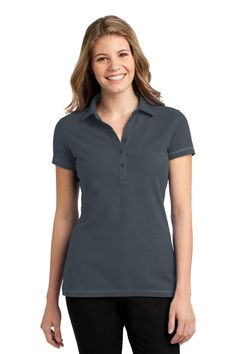 Port Authority Ladies Modern Stain-Resistant Polo. L559 Steel Grey