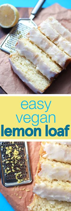 This ridiculously easy lemon loaf topped with a sweet-tart lemon glaze is to die. This ridiculously easy lemon loaf topped with a sweet-tart lemon glaze is to die for! This recipe is simple, vegan, and a must have for all lemon lovers! Vegan Treats, Vegan Foods, Vegan Dishes, Easy Vegan Snack, Desserts Végétaliens, Vegan Dessert Recipes, Vegan Lemon Desserts, Vegan Lemon Cake, Lemon Recipes Vegan
