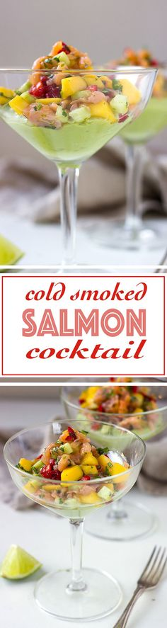 Cold smoked salmon cocktail with avocado cream, a rendition of a retro dish! A great starter for New Year's Eve!