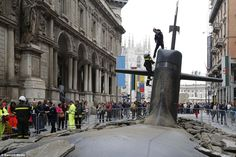 But where did it come from? The submarine emerged just off Via dei Mercanti, near the heart of Milan's busy old town