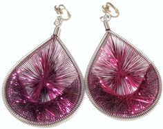Handcrafted  Clip On Earrings  Silver Plated   Purple by ADKOR, $10.00