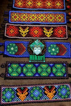 Huichol bracelet huichol tribe mexican art by Hikuricreations Seed Bead Bracelets, Seed Beads, Mexican Designs, Native American Beadwork, Mexican Art, Colorful Bracelets, Bead Weaving, Beading Patterns, Tatoo