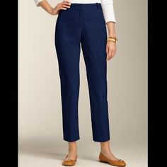 Talbots Navy Blue Crop Pants Talbots - size 4 - navy blue crop pants - like new condition - Reasonable offers welcomed - bundle discounts available Talbots Pants Ankle & Cropped
