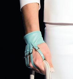 25 Unusual Outfit Details From Fashion Month: Dsquared2's leather harness gloves also added a touch of edge.