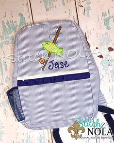 Seersucker Diaper Bag School Seersucker Backpack with Circle Monogram in Madras Plaid Seersucker Bag Diaper Bag Seersucker School Bag