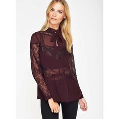 Miss Selfridge Burgundy Lace Pussybow Blouse ($61) ❤ liked on Polyvore featuring tops, blouses, burgundy, evening tops, long sleeve lace blouse, holiday tops, burgundy top and oversized blouse