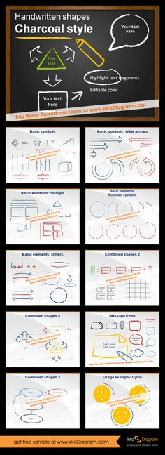 Charcoal presentation graphics for PowerPoint. Fully editable and easy to use to create cool slides with hand drawn style. Set of basic symbols, arrows and charts. All easy to use as simple as copy&paste. #powerpoint #template #theme #charcoal #presentation