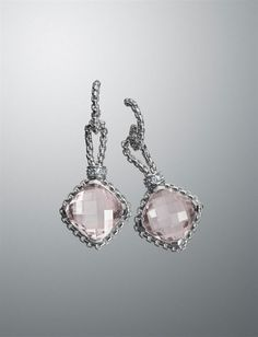 $1600 David Yurman Morganite Cushion on Point Earrings, 11mm