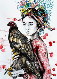 Woman and eagle. Google Storage, Eagle, Paintings, Woman, Art, Art Background, Paint, Painting Art, Kunst