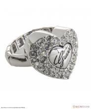 Сребрист пръстен с блестящи кристали от Guess