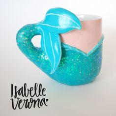 DIY Mermaid Mug by Isabelle Verona! ---- DIY Caneca de sereia por Isabelle Verona!