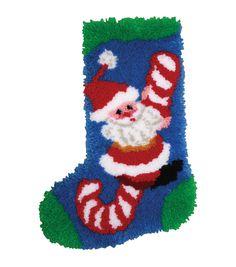 MCG Textiles Latch Hook Kit Candy Cane Santa Stocking